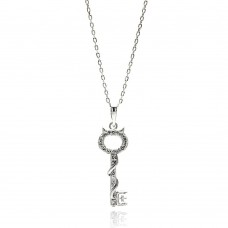 Sterling Silver Rhodium Plated Open Key CZ Necklace - BGP00622