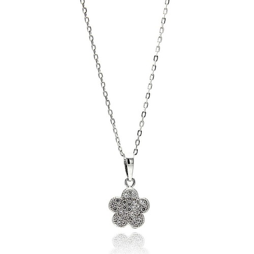 Wholesale Sterling Silver 925 Rhodium Plated Micro Pave Flower CZ Necklace - BGP00623
