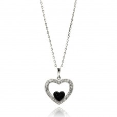 Wholesale Sterling Silver 925 Rhodium Plated Open Heart Black and Clear CZ Necklace - BGP00626