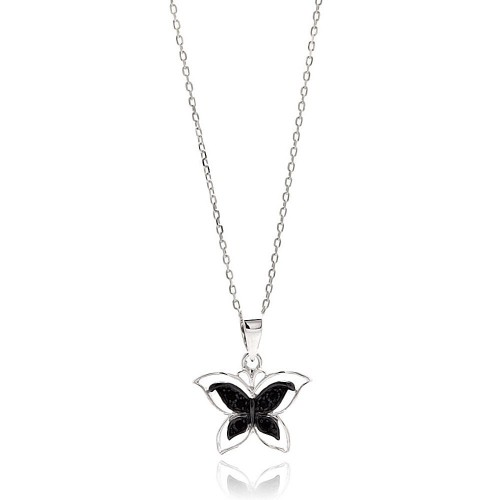 Wholesale Sterling Silver 925 Rhodium Plated Open Butterfly Black and Clear CZ Necklace - BGP00627