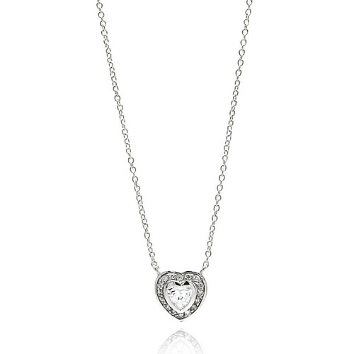 Wholesale Sterling Silver 925 Rhodium Plated Heart CZ Necklace - BGP00629