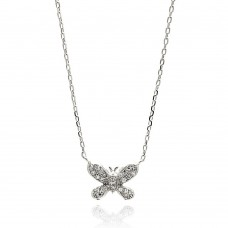 Sterling Silver Rhodium Plated Butterfly CZ Necklace - BGP00630
