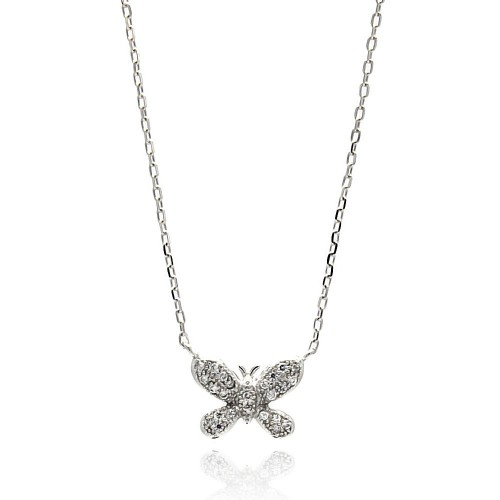 Wholesale Sterling Silver 925 Rhodium Plated Butterfly CZ Necklace - BGP00630