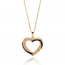 Sterling Silver Black and Gold Rhodium Plated Open Heart CZ Necklace - BGP00634
