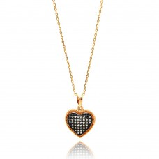 Sterling Silver Gold Plated Black and Clear Heart CZ Necklace - BGP00640