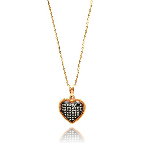 Wholesale Sterling Silver 925 Gold Plated Black and Clear Heart CZ Necklace - BGP00640