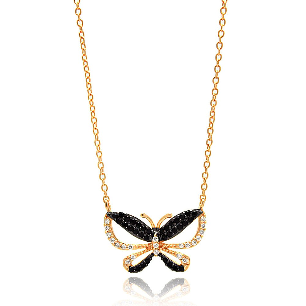 Wholesale Sterling Silver 925 Gold and Black Plated Butterfly CZ Necklace - BGP00643