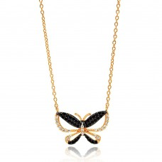 Sterling Silver Gold and Black Plated Butterfly CZ Necklace - BGP00643