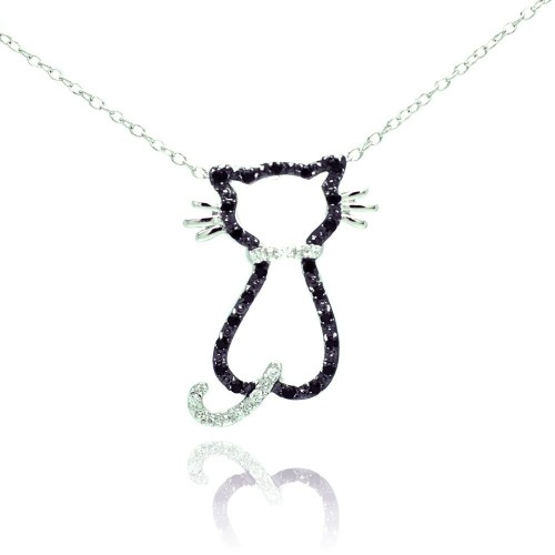 Wholesale Sterling Silver 925 Rhodium Plated Open Cat Black and Clear CZ Necklace - BGP00678