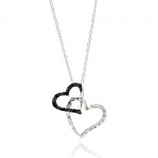 Wholesale Sterling Silver 925 Rhodium Plated Double Open Heart Black and Clear CZ Necklace - BGP00681