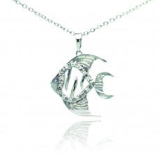 Sterling Silver Rhodium Plated Fish Micro Pave CZ Necklace - BGP00682