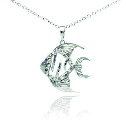 Wholesale Sterling Silver 925 Rhodium Plated Fish Micro Pave CZ Necklace - BGP00682