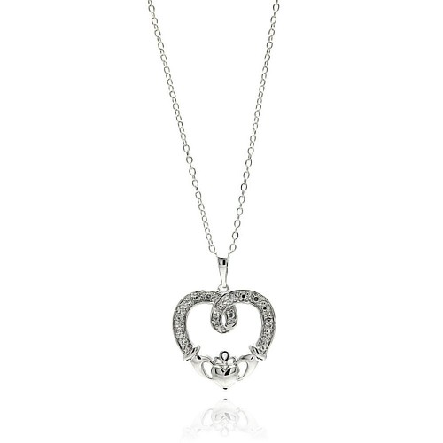 Wholesale Sterling Silver 925 Rhodium Plated Open Heart CZ Outline Necklace - BGP00684
