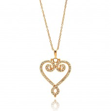 Sterling Silver Gold Plated Open Heart CZ Outline Necklace - BGP00685