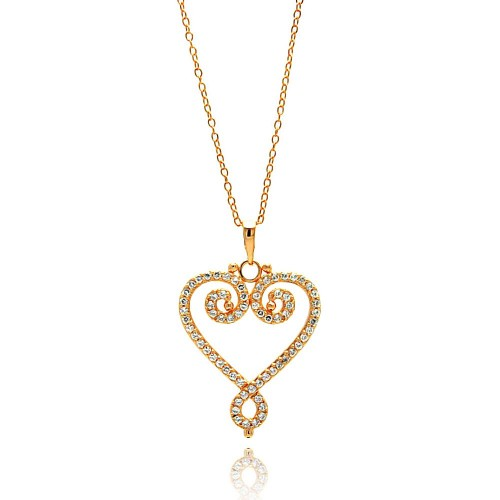 Wholesale Sterling Silver 925 Gold Plated Open Heart CZ Outline Necklace - BGP00685