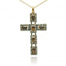 **Closeout** Sterling Silver Rhodium Plated Cross Clear and Champagne CZ Necklace - BGP00714