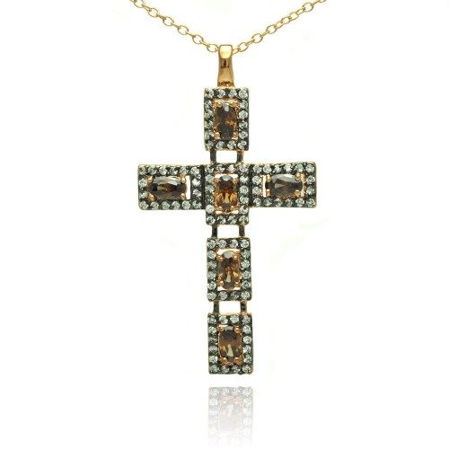 -Closeout- Wholesale Sterling Silver 925 Rhodium Plated Cross Clear and Champagne CZ Necklace - BGP00714