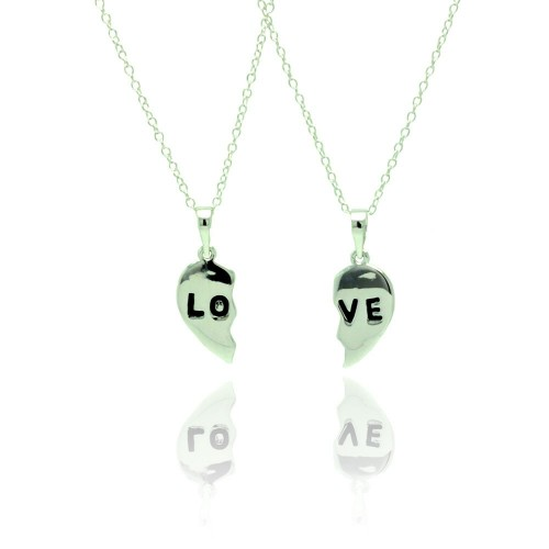 Wholesale Sterling Silver 925 Rhodium Plated Love Necklace - BGP00769