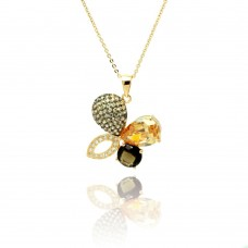 Wholesale Sterling Silver 925 Gold Plated Flower CZ Necklace - BGP00774
