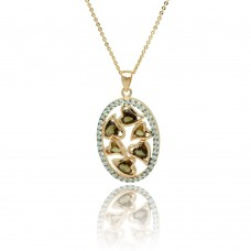 ***CLOSEOUT*** Sterling Silver Gold Plated Oval Multiple Heart Stones Outline CZ Necklace - BGP00775