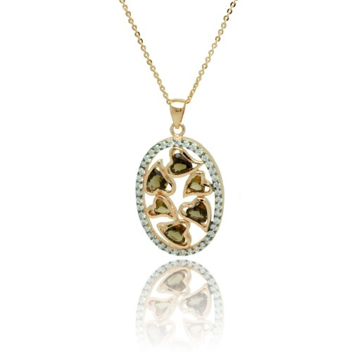 -CLOSEOUT- Wholesale Sterling Silver 925 Gold Plated Oval Multiple Heart Stones Outline CZ Necklace - BGP00775