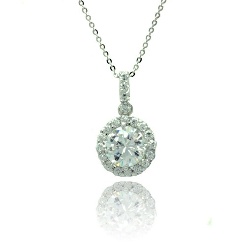 Wholesale Sterling Silver 925 Rhodium Plated Round CZ Outline Necklace - BGP00776