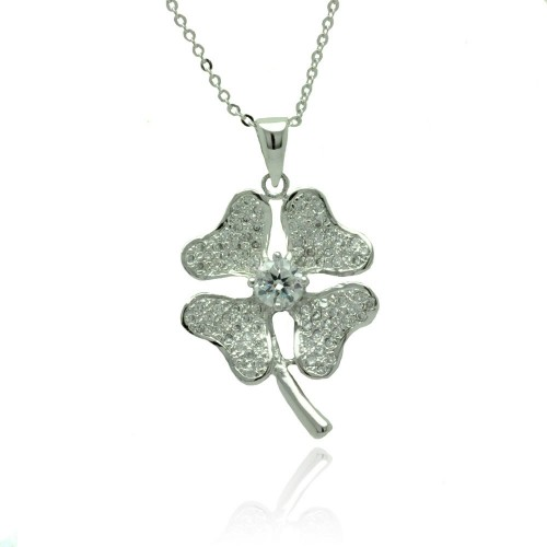 Wholesale Sterling Silver 925 Rhodium Plated Heart Clover Micro Pave CZ Necklace - BGP00788