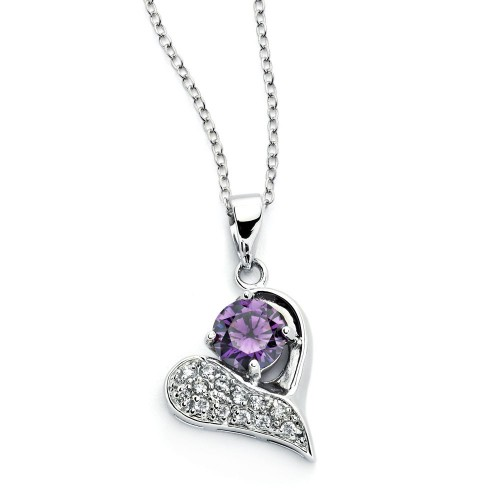 Wholesale Sterling Silver 925 Rhodium Plated Open Heart Pink CZ Inlay Necklace - BGP00790