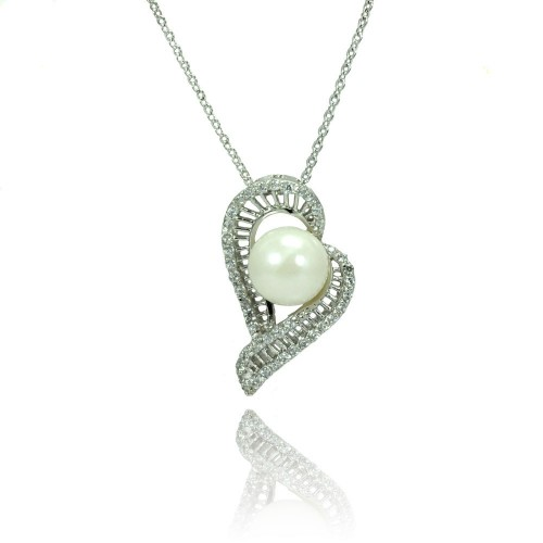 Wholesale Sterling Silver 925 Rhodium Plated Micro Pave CZ Pearl Necklace - BGP00795