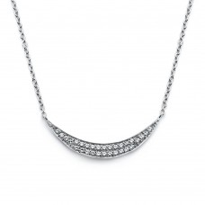 Wholesale Sterling Silver 925 Rhodium Plated Crescent CZ Necklace - BGP00799