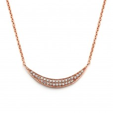Wholesale Sterling Silver 925 Rose Gold Plated Crescent CZ Inlay Necklace - BGP00800