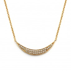 Wholesale Sterling Silver 925 Gold Plated Crescent CZ Inlay Necklace - BGP00801
