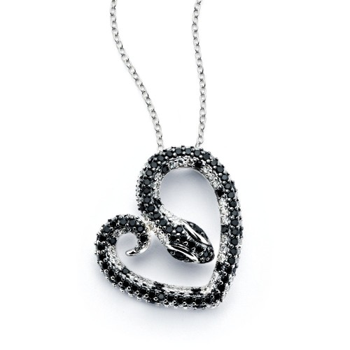 Wholesale Sterling Silver 925 Rhodium Plated Snake Heart Black and Clear CZ Necklace - BGP00804