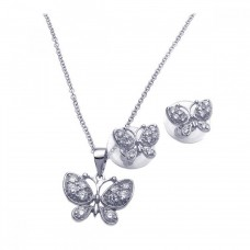 Sterling Silver Rhodium Plated Clear Butterfly CZ Stud Earring & Necklace Set bgs00091