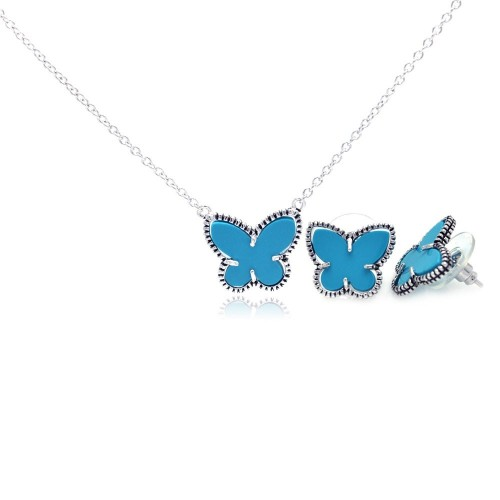 Wholesale Sterling Silver 925 Rhodium Plated Turquoise Mini Butterfly Stud Earring and Necklace Set - BGS00110