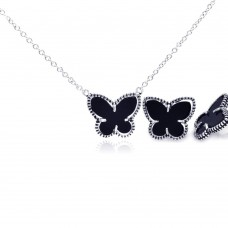 Wholesale Sterling Silver 925 Rhodium Plated Black Onyx Mini Butterfly Stud Earring and Necklace Set - BGS00111