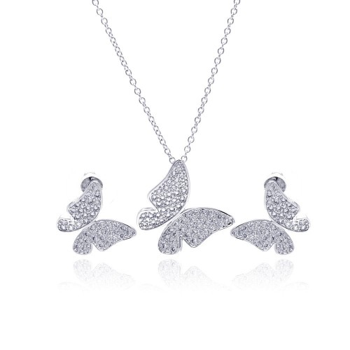 Wholesale Sterling Silver 925 Rhodium Plated Clear Pave Set Butterfly CZ Stud Earring and Necklace Set - BGS00120
