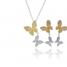 Wholesale Sterling Silver 925 Rhodium and Gold Plated Clear Butterfly CZ Dangling Stud Earring and Dangling Necklace Set - BGS00130