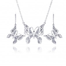 Wholesale Sterling Silver 925 Rhodium Plated Clear Filigree Butterfly CZ Hook Earring and Necklace Set - BGS00131