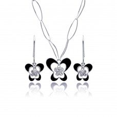 Wholesale Sterling Silver 925 Rhodium Plated Black Enamel Butterfly Clear CZ Hook Earring and Necklace Set - BGS00144