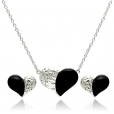**Closeout** Wholesale Sterling Silver 925 Rhodium Plated Black Onyx Clear Heart CZ Stud Earring and Necklace Set - BGS00232