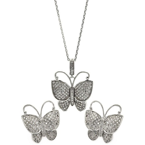 Wholesale Sterling Silver 925 Rhodium Plated Micro Pave Clear Butterfly CZ Stud Earring and Necklace Set - BGS00257