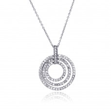 **Closeout** Sterling Silver Clear CZ Rhodium Plated 3 Rows Circle Pendant Necklace - STP00001