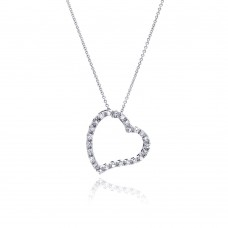 Sterling Silver Clear CZ Rhodium Plated Heart Design Pendant Necklace - STP00005