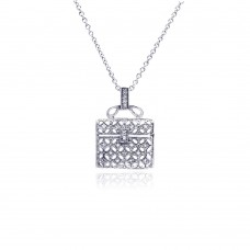 **Closeout** Sterling Silver Clear CZ Rhodium Plated Handbag Pendant Necklace - STP00007