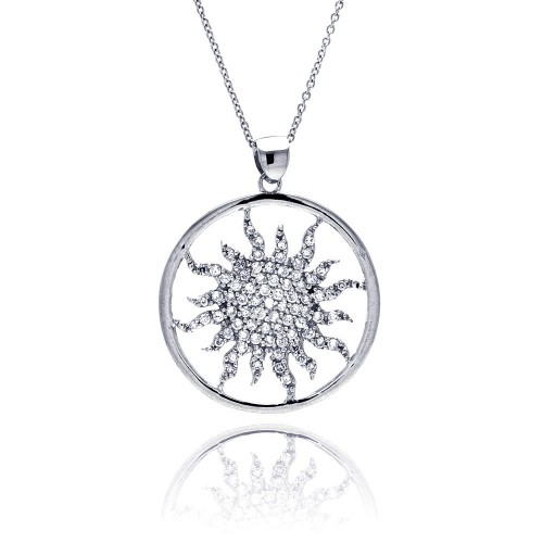 Wholesale Sterling Silver 925 Clear CZ Rhodium Plated Round Tribal Design Pendant Necklace - STP00009