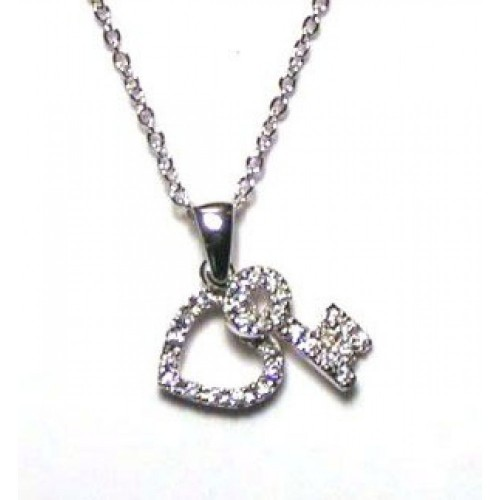 Wholesale Sterling Silver 925 Clear CZ Rhodium Plated Heart/Key Entwined Pendant Necklace - STP00010