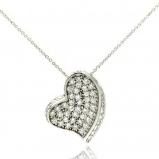 **Closeout** Wholesale Sterling Silver 925 Rhodium Plated Heart Multi CZ Accent Pendant Necklace - STP00012
