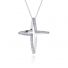 **Closeout** Sterling Silver Clear CZ Rhodium Plated Fancy Cross Pendant Necklace - STP00015