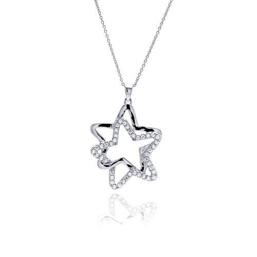 -Closeout- Wholesale Sterling Silver 925 Clear CZ Rhodium Plated Double Star Pendant Necklace - STP00016